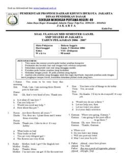 banksoal.web.Id] Soal Ulangan Mid Semester I SMP Kelas VIII - Bahasa