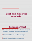 Cost & Revenue Analysis