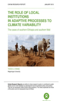 The Role of Local Institutions in Adaptive Processes to Climate Variability: The cases of southern Ethiopia and southern Mali