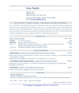 Resume Templates For School Leavers