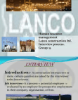 INTERVIEW PROCESS IN LANCO CONSTRUCTION