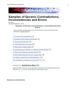 Quranic Contradictions, Inconsistencies and Errors