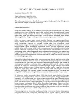 Teks Pidato Tentang Lingkungan Hidup ~ Herlambang P. Trapsilo