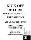 Menlo College Kick Return  9 Pages