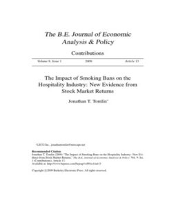 the economic effects of smoking bans Reduced secondhand smoke exposure after implementation of a comprehensive statewide smoking ban — new york, june 26, 2003–june 30, 2004  study on economic .