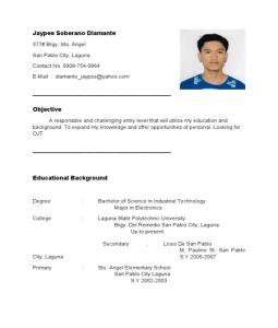 Sample Resume Tourism Ojt Ojt Sample Resume Example Resume Graduate Sample Sample Resume Objectives For Ojt Usa Canada Job